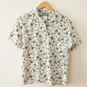 Vintage Notations Short Sleeve Floral Button Down